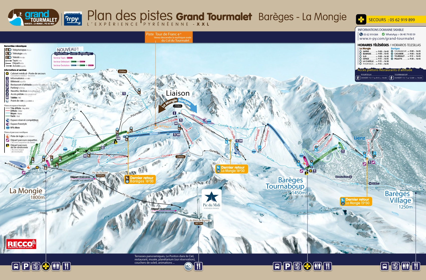 Grand Tourmalet-Bareges/La Mongie Piste / Trail Map