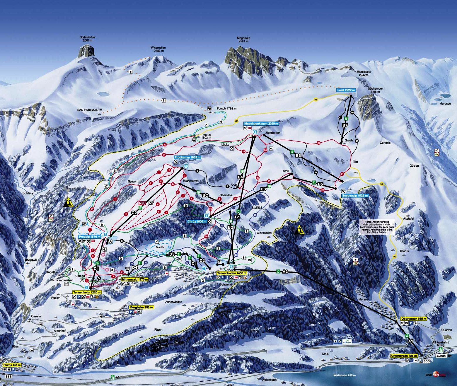 Flumserberg Piste / Trail Map