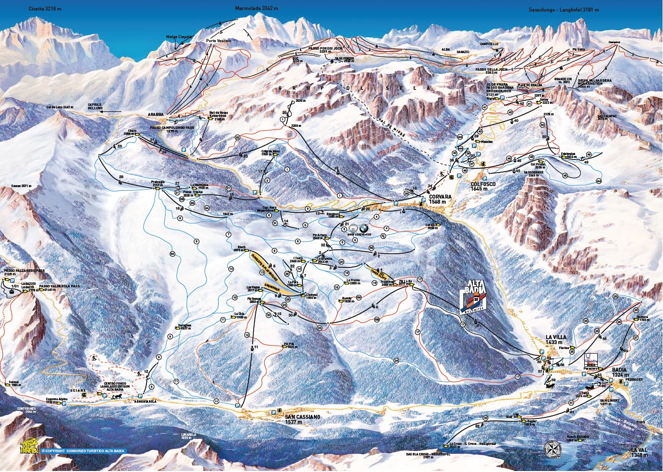 San Cassiano (Alta Badia) Piste / Trail Map