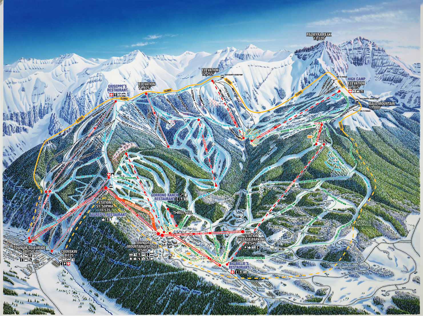 Telluride Piste / Trail Map