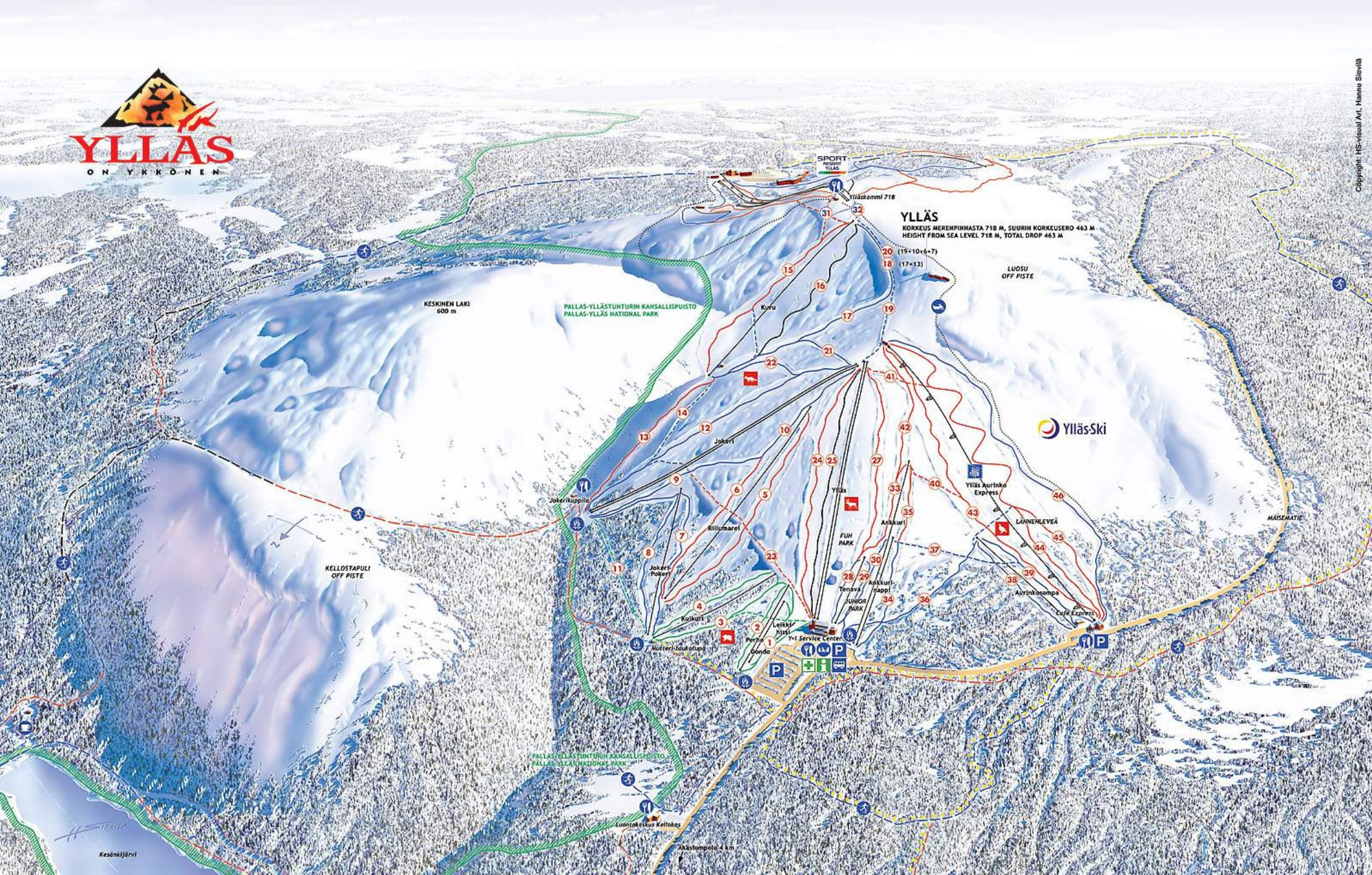 Yllas Piste / Trail Map