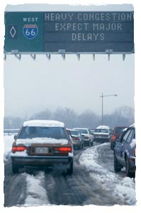 Cars stuck in traffic after a heavy snow