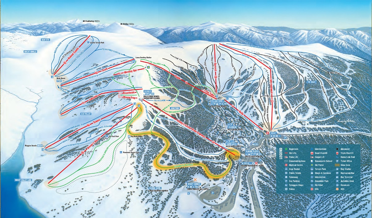 Falls Creek Piste / Trail Map