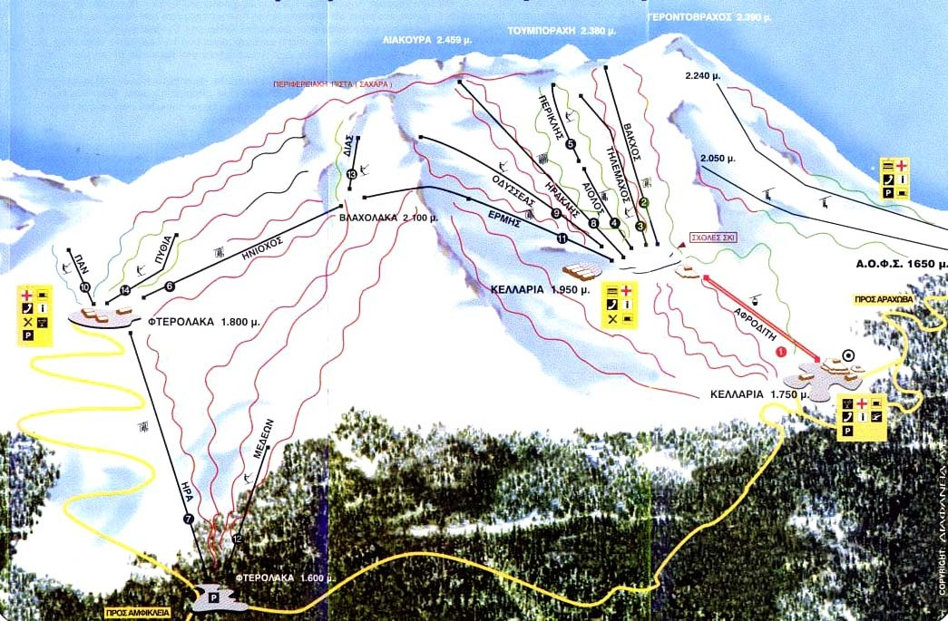 Mt Parnassos-Fterolaka Piste / Trail Map