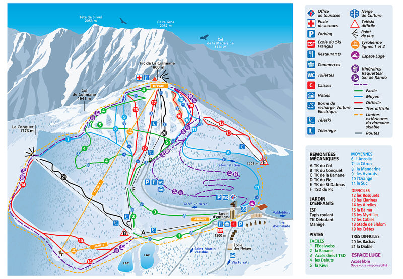 La Colmiane Piste / Trail Map