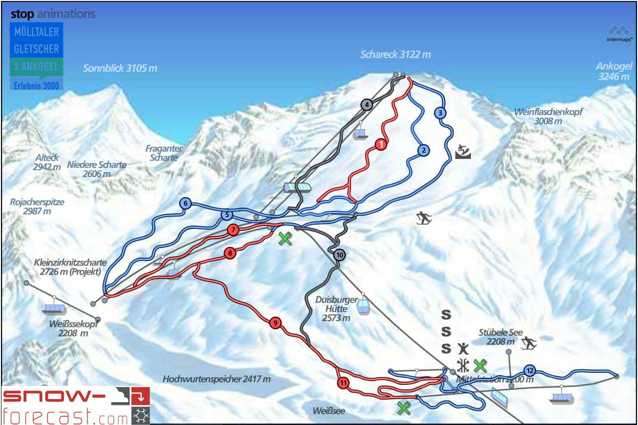 Mölltaler Gletscher Piste / Trail Map