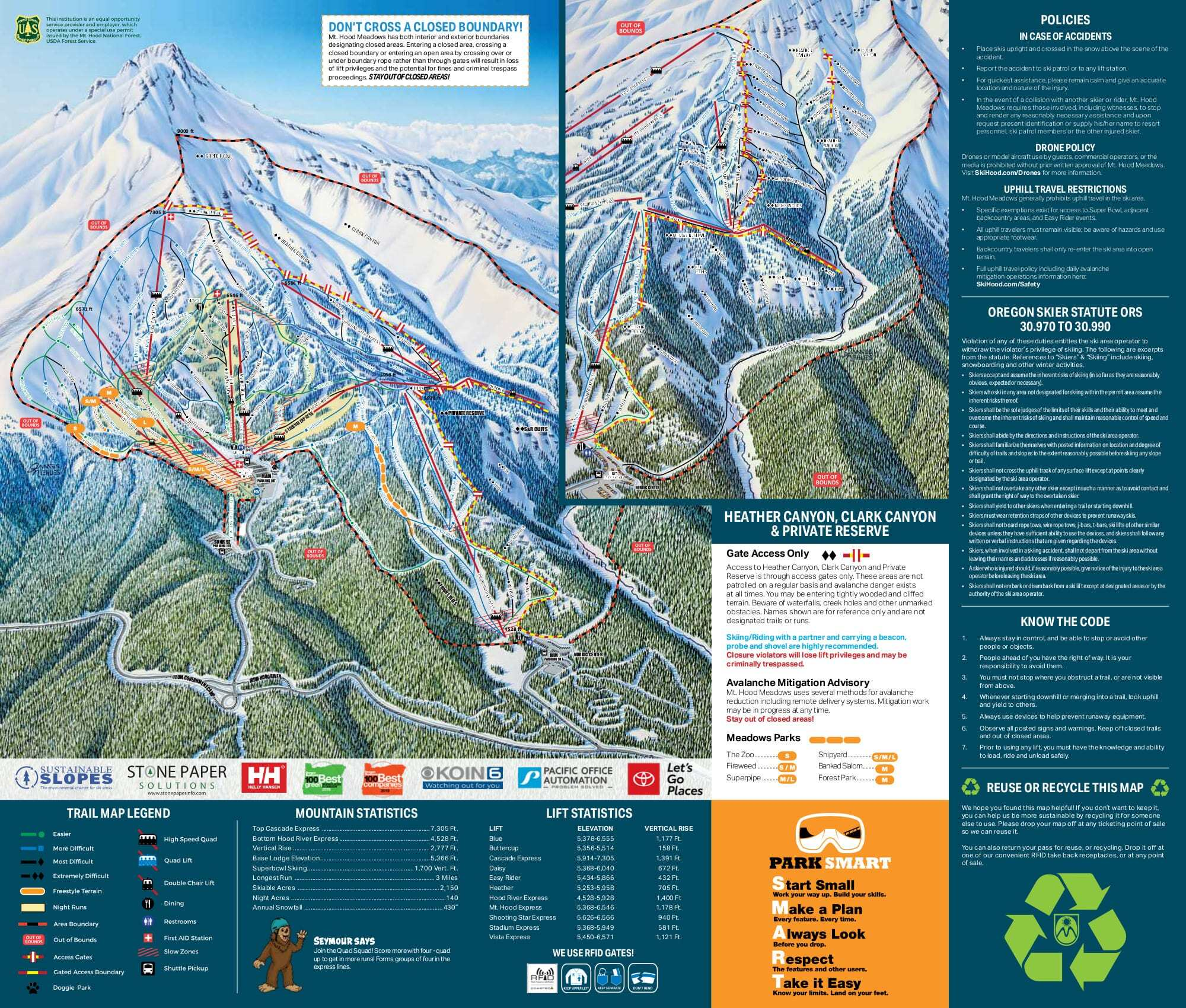 Mt Hood Meadows Piste / Trail Map