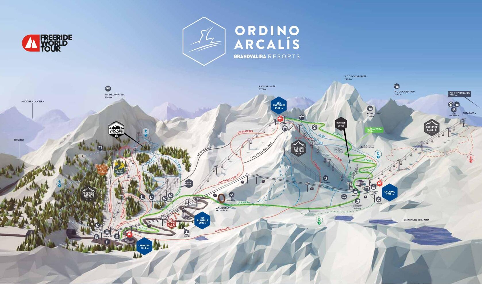 Ordino-Arcalís Piste / Trail Map