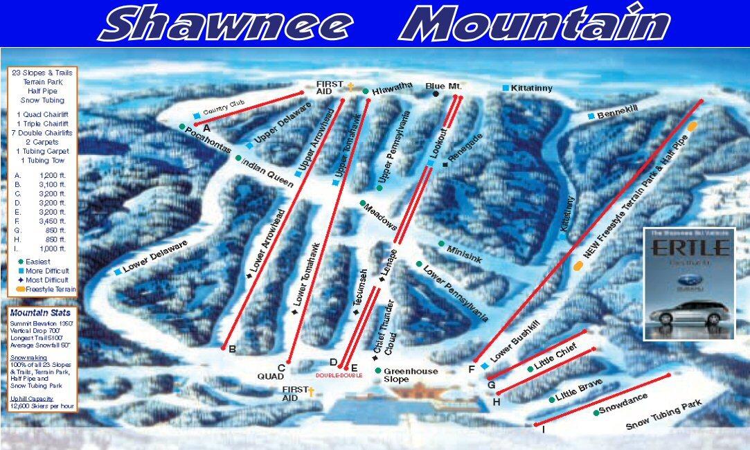 Shawnee Mountain Ski Area Piste / Trail Map