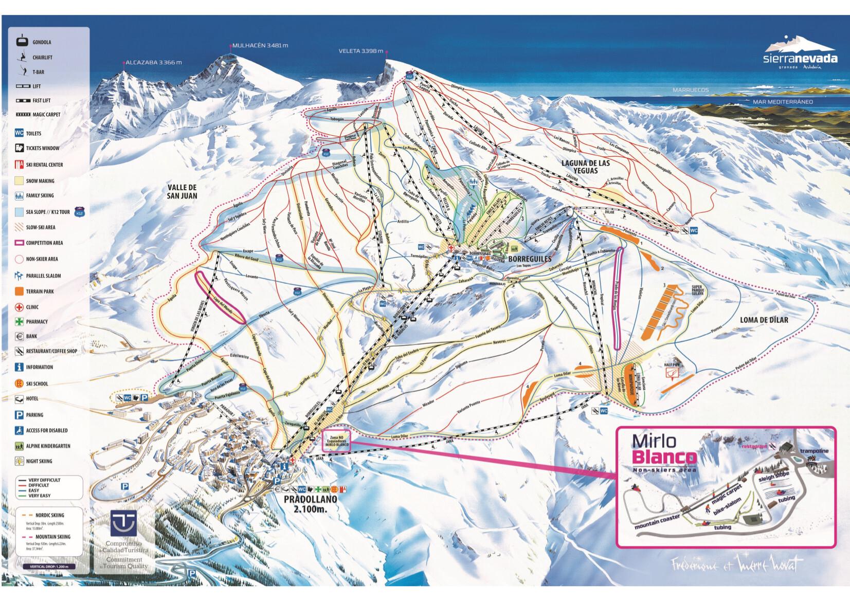 mapa de espanha serra nevada Sierra Nevada Mapa da pista / Mapa de trilha mapa de espanha serra nevada