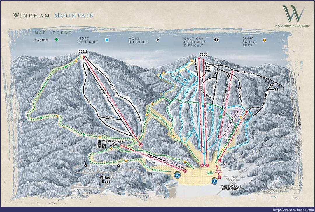Ski Windham Piste / Trail Map
